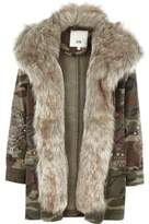 River Island Girls camo embroidered faux fur parka coat
