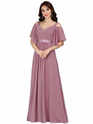 Ever Pretty Ever-Pretty Women's Elegant Cold Shoulder Short Sleeves Empire Waist A Line Floor Length Chiffon Wedding Guest Dresses Pink 16UK