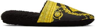 Versace Black Medusa Barocco Slippers