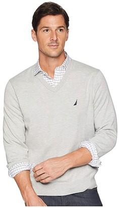 Nautica V-Neck Sweater (Grey Heather) Men's Sweater