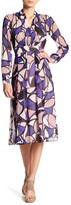 Anne Klein Printed Georgette V-Neck Fit & Flare Dress