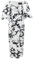 Rasario Balloon-sleeve Floral-print Satin Midi Dress - Womens - Black White