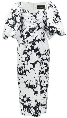 Rasario Balloon-sleeve Floral-print Satin Midi Dress - Black White