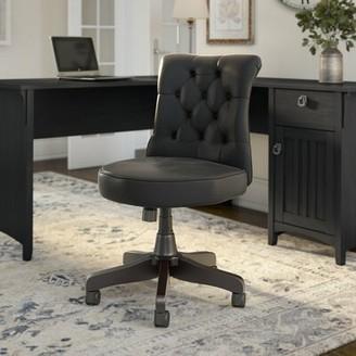 Bush Business Furniture Arden Lane Mid Back Tufted Task Chair Upholstery Color: Black Leather
