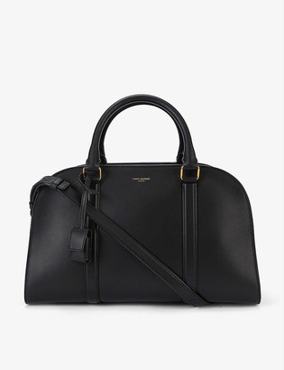 Saint Laurent Lock branded leather bowling bag