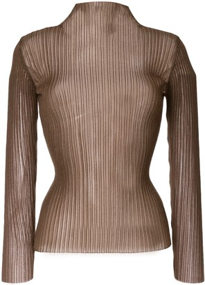 Le Ciel Bleu See-Through Slim-Fit Jumper