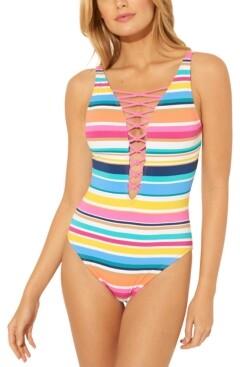 BLEU by Rod Beattie Lattice One-Piece Swimsuit Women's Swimsuit