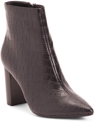 Croco High Heel Pointy Toe Booties