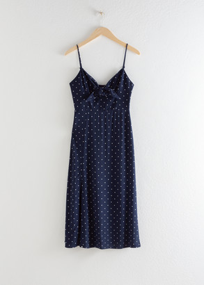 And other stories Knotted A-line Midi Slit Dress