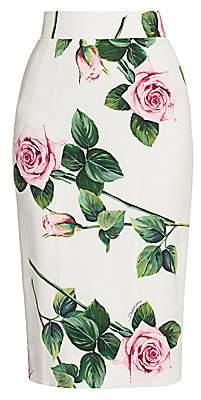 Dolce & Gabbana Women's Rose Print Cady Tubino Skirt