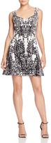 Karen Millen Printed Velvet Fit-And-Flare Dress