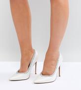 Asos Design DESIGN Wide Fit Phoenix bridal high heeled pumps in ivory