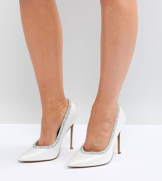 Asos Design DESIGN Wide Fit Phoenix bridal high heeled pumps in ivory-Cream