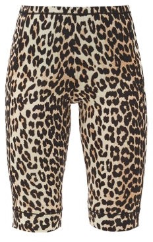 Ganni Leopard-print Jersey Cycling Shorts - Leopard
