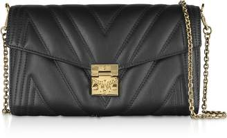 MCM Quilted Black Leather Medium Flap Crossbody Bag