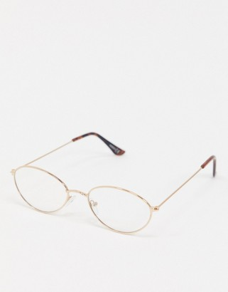 ASOS DESIGN oval metal clear fashion lens geeky glasses
