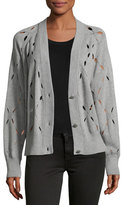 Alexander Wang Argyle Stitch Cutout Cardigan Sweater, Gray