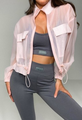 Missguided Blush Sheer Pocket Detail Bomber Jacket
