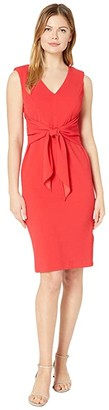 Adrianna Papell Rio Knit Draped Tie Sheath Dress (Hot Tomato) Women's Dress