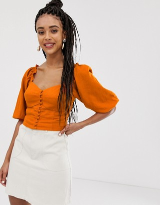 New Look crop top with button through in rust