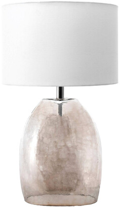 nuLoom 19In Lesta Glass Bell Cotton Shade Table Lamp