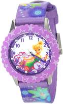 Disney Kids' W001029 Tinker Bell Glitz Stainless Steel Printed Bezel Printed Strap Watch