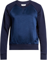 Ami Contrast-panel crew-neck cotton sweatshirt