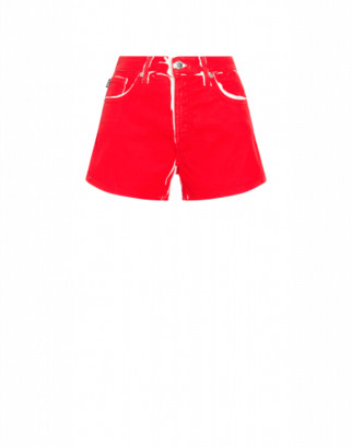 Love Moschino Stretch Gabardine Patent Print Shorts. Woman Red Size 38 It - (4 Us)