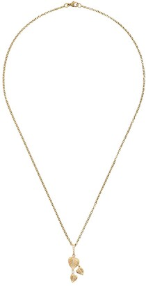 Kiki McDonough Lauren 18kt yellow gold and diamond three leaf pendant
