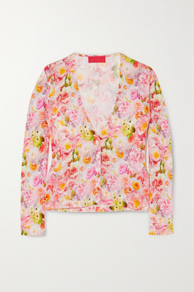 Commission Floral-print Stretch-jersey Cardigan - Pink