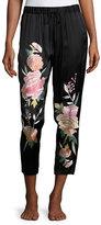Josie Natori Lola Floral-Embroidered Silk Lounge Pants
