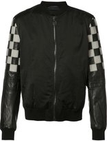 Lanvin checked sleeve bomber jacket - men - Cotton/Leather/Spandex/Elastane/Cupro - 50