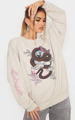 PrettyLittleThing Sand Dragon Print Washed Long Sleeve Sweater