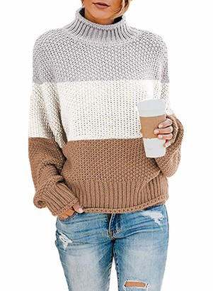 Hikaro Amazon Brand Womens Baggy Warm Batwing Sleeve Turtleneck Jumpers Ladies Knitted High Neck Pullover Top Long Sleeves Cable Knit Sweater for Women Khaki X-Large