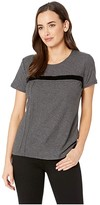 Vince Camuto Short Sleeve Cotton Slub Velvet Tape Detail Tee (Medium Heather Grey) Women's T Shirt