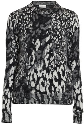 Saint Laurent Leopard-Print Jacquard Sweater