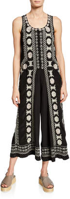 Johnny Was Shia Embroidered Sleeveless Wide-Leg Silk Jumper