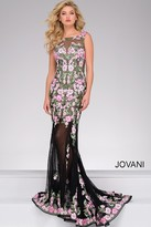 Jovani Floral Applique Long Prom Dress 45250