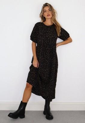 Missguided Black Animal Print Puff Sleeve Midi Smock Dress