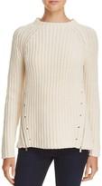 Aqua Asymmetric Zip Crewneck Sweater