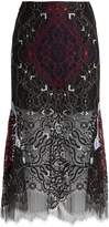 Jonathan Simkhai Tri-colour embroidered lace midi skirt