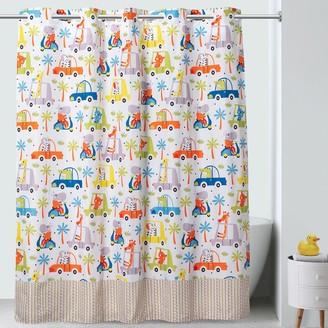 Hookless Jungle Traffic Print Shower Curtain & PEVA Liner