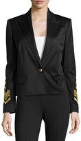 Versace Embroidered-Sleeve Peaked-Lapel Blazer, Nero