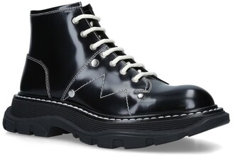 Alexander McQueen Leather Tread Lace-Up Boots
