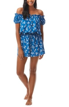 Kate Spade Printed Off-The-Shoulder Cover-Up Romper Women's Swimsuit
