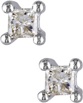 Sterling Silver Princess Cut Diamond Stud Earrings - 0.10 ctw
