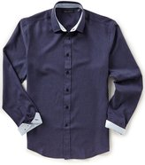 Vince Camuto Slim-Fit Solid Performance Knit Long-Sleeve Woven Shirt