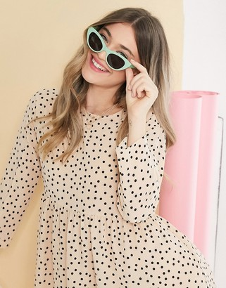 ASOS DESIGN long sleeve smock mini dress in polka dot
