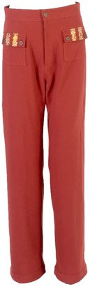 Relax Baby Be Cool Straight Cut Loose Wool Trousers With Front Pockets Burgundy