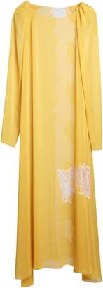 Lake Studio Lace-Paneled Gauze Maxi Shift Dress Size: 40